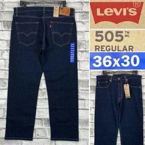 NWT Levis 505 Regular Mens Size 36 x 30 Dark Wash